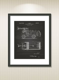 Fire Fighting Truck 1944 Patent Art Illustration - Drawing - Printable INSTANT DOWNLOAD - Get 5 colors background