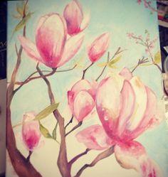 Magnolia Blossoms composed by Maia Negre  #maianegre #rainydayart www.maianegre.com/