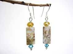 jasper earrings - swirly jasper - fancy jasper - swarovski crystal - sterling silver ear hooks - handmade by Rockin'Lola