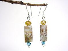 jasper earrings - swirly jasper - fancy jasper - swarovski crystal - sterling silver ear hooks - handmade by Rockin'Lola