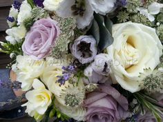 Roses, Freesias, Lavender, Astrantia and Rosemary Bouquet, by Lily King Weddings