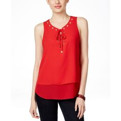 Inc International Concepts Lace-Up Layered Blouse, ($26) ❤ liked on Polyvore featuring tops, blouses, real red, lace front top, double layer top, inc international concepts tops, laced tops and red blouse