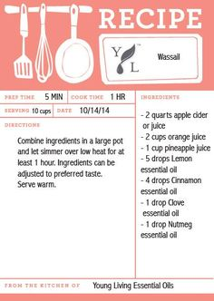 Wassail Recipe using essential oils. Click for more wintertime treats!