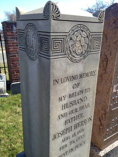 Fantastic deco style engraving - carving really - in this Jewish tombstone from Woburn, MA