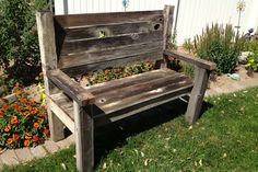 Reclaimed Rustic Barn Wood Bench by amysbasketdesigns on Etsy, $250.00  - made by my Mike :)
