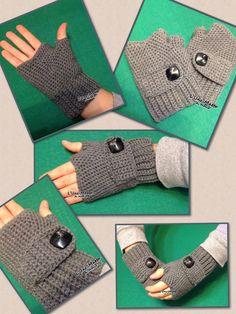 Fingerless gloves with badge