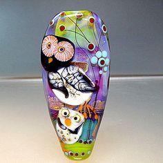 Artist handmade lampwork bead - Happy Owl  - Glassartist Manuela Wutschke