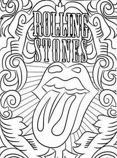 Detailed Coloring Pages, Love Coloring Pages, Printable Adult Coloring Pages, Mandala Coloring Pages, Coloring Books, Coloring Sheets, Coloring Stuff, Rolling Stones, Swear Word Coloring Book