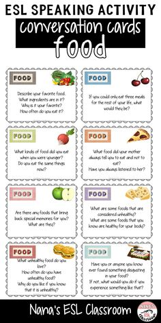 This resource includes 40 different conversation cards about food and eating. Ideal for teen ESL students to practice speaking or can be used as class openers or finishers and even as writing prompts. - Can Opener - Ideas of Can Opener English Lesson Plans, Esl Lesson Plans, English Lessons, French Lessons, Spanish Lessons, English Activities, Vocabulary Activities, Preschool Worksheets, English Language Learners