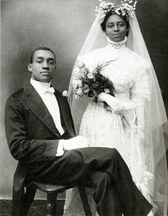 This wedding photo is by James Van Der Zee. Mr. Van Der Zee's studio was located on the east side of Lenox Avenue between 123rd and 124th Streets.  It was called G.G.G. Studio.    It was in the above ground basement of a Harlem brownstone. Love their expressions & confidence.