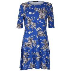 Blue Inc Woman Royal Blue Floral Print Skater Dress (£7) found on Polyvore