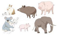 SPAI148, 프리진, 일러스트, 동물, SPAI148b, 에프지아이, 라인, 컬러풀, 컬러, 색채, 토끼, 멧돼지, 돼지, 코알라, 코끼리, 어린돼지, 새끼, 스케치,#유토이미지