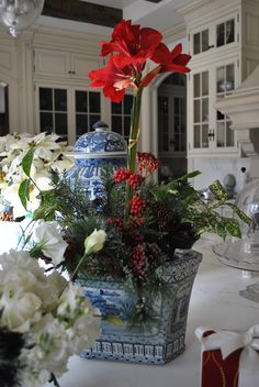 Christmas Floral Amaryllis in blue and white container.The Enchanted Home Blue Christmas, All Things Christmas, Christmas Home, Southern Christmas, Xmas, Christmas Mantles, Christmas Flowers, Christmas Kitchen, Elegant Christmas