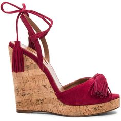 Aquazzura Suede Wild One Espadrille Wedges ($615) ❤ liked on Polyvore featuring shoes, sandals, wedges, heels, wedge heel shoes, platform wedge sandals, suede wedge sandals, peep toe sandals and wedge shoes