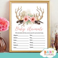 Printable Boho Chic Floral Deer Antler baby shower games featuring majestic antlers adorned with a beautiful arrangement of flowers in coral pink and feathers against a white backdrop. Sunshine Baby Showers, Deer Baby Showers, Oh Deer, Baby Deer, Baby Shower Supplies, Baby Shower Games, Baby Animal Name Game, Baby Prediction, Baby Bingo