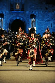 Regimental Pipe Band at forecourt of Edinburgh Castle during the Royal Edinburgh Military Tattoo.