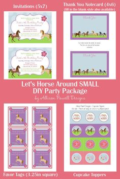 Horse - Horseback Riding - Pony Birthday Party Invitation - SMALL Printable Party Package