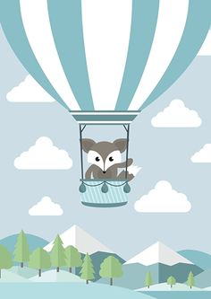 Poster Vos in luchtballon A4