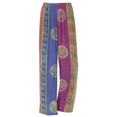 """Sunset Batik Pants - Exclusive! Day's End. Colors soft as sunlight at dusk! World-renowned Balinese batik-dyeing tints these ultra-relaxed pants—light and comfy, with the legs falling straight from the elasticized waist. 100% rayon. Machine/hand washable. Made in Bali. Color: Multi. Sizes: XS (2-4), S (6-8), M (10-12), L (14-16), XL (18); 31"""" inseam (approx.)."""