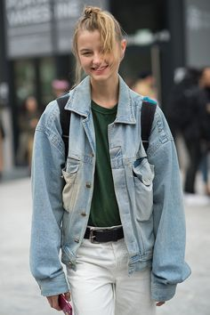 Spotted on day 2 of MFW (AW16): Distressed and oversized denim lent a laid-back feel to a week full of high-impact fashion. #newlook