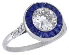 Art Deco 0.89ct Diamond Sapphire Platinum Engagement Ring, so lovely!