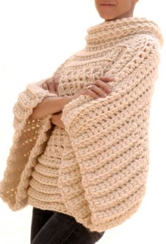 Ravelry: the Crochet Brioche Sweater pattern by Karen Clements great lagenlook scandi chic design poncho jumper cool ,quick to make great for putting on as the night gets chilly on a summer evening near the campfire Pull Crochet, Mode Crochet, Crochet Shawl, Crochet Stitches, Knit Crochet, Crochet Sweaters, Crochet Tops, Easy Crochet, Beginner Crochet