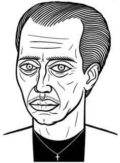 Steve Buscemi, black and white illustration.