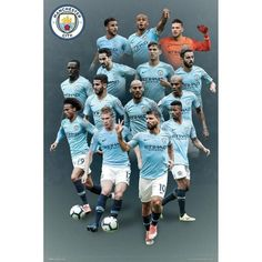 Manchester City F C - large poster - approx x - rolled - official licensed Squad Photos, Soccer Poster, Team Names, My Black, Manchester City, Football, Baseball Cards, Sports, Posters