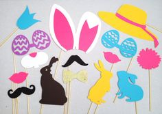 Items similar to 15 Easter Photo Booth Props - 15 Piece Prop Set - Spring Photo Booth - Easter Photobooth Props - Easter Party Props on Etsy Bunny Party, Easter Party, Easter Hunt, Easter Colors, Easter Celebration, Easter Holidays, Easter Crafts, Easter Ideas, Photo Booth Props