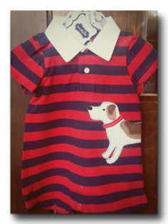 Puppy Polo one-piece Rugby striped cotton - Pique' knit romper features oxford collar and wrap-around puppy applique'. Inner leg Snap closure. 6-9mo and 9-12mo http://www.gigglegals.net