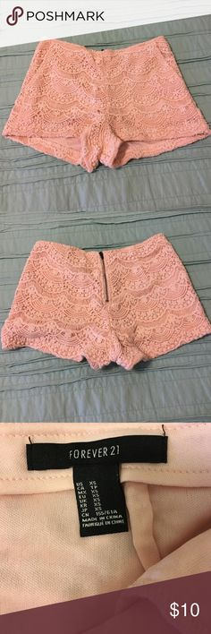 Blush pink lace shorts Cute high waisted blush lace shorts from Forever 21. Worn twice, like new! Forever 21 Shorts