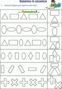 kleur de vorm die aan de beurt is, free printable                                                                                                                                                                                 Más Kindergarten Math Worksheets, Tracing Worksheets, Preschool Math, Worksheets For Kids, Math Activities, Maths, Pattern Worksheet, Math Patterns, Go Math