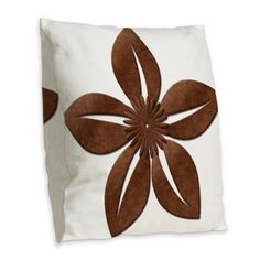 Vintage Style Old Copper Flower Burlap Throw Pillow