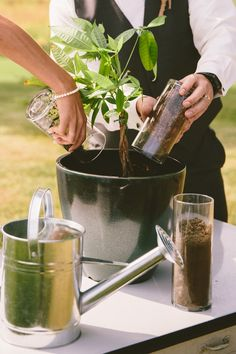 Plant unity ceremony instead of sand. What a great idea! #nature #wedding #unity