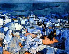 Algérie - Peintre Français,  Léon CAUVY(1874-1933), Huile sur toile, Titre : Sur les terrasses de la Casbah dAlger