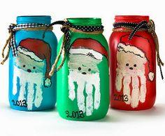 Handprint Santa Mason Jars | AllFreeHolidayCrafts.com
