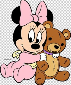 Baby Minnie Mouse hugging her teddy bear. :)- Baby Minnie Mouse hugging her teddy bear. 🙂 Baby Minnie Mouse hugging her teddy bear. Baby Mickey, Mickey Minnie Mouse, Mickey Mouse Kunst, Minnie Mouse Clipart, Minnie Mouse Stickers, Minnie Mouse Birthday Outfit, Minnie Png, Disney Clipart, Mickey Birthday
