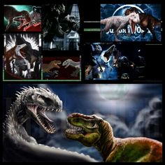 Jurassic World- Indominus Rex vs T-Rex vs Raptors: I find it amazing how two species of dinosaurs, which Indominus is a hybrid of, had a face off with Indominus and couldn't defeat her. First the raptors fought her and all where either killed or hurt (Blue was knocked out cold). Then they released the original Tyrannosaurus and she was literally about to be murdered. With the combined power of both, both finally defeated her with a Mesasaur help.