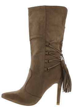 AUDREY3 TAUPE POINTED TOE LACE UP TASSEL PLUNGE BOOT ONLY $19.88