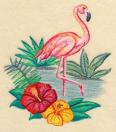 Flamingo and Hibiscus in Watercolor design (M6092) from www.Emblibrary.com
