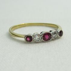 Antique Diamond and Ruby Wedding Band. Five Stone Wedding Ring in Yellow Gold and Platinum