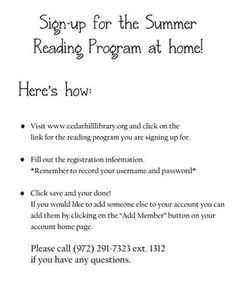 Sign up for the Summer Reading Program