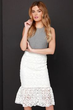 My Fair Daisy Ivory Lace Skirt at Lulus.com!