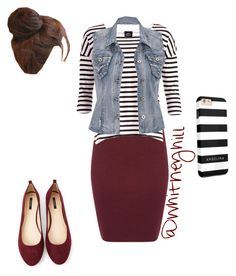"""Stripes and Maroon!!"" by whitneyhill on Polyvore featuring Sessùn, Dr. Denim, maurices, Forever 21 and Pin Show"