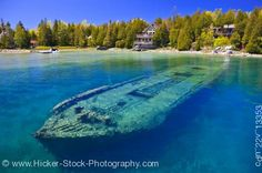 Shipwreck in shallow water.  Lake Huron.