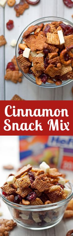 Thanksgiving Dinner Tips - Cinnamon Snack Mix Recipe - Try this cinnamon snack mix recipe – full of rice cereal, pretzels, graham crackers, cranberries - Snack Mix Recipes, Recipes Appetizers And Snacks, Easy Snacks, Yummy Snacks, Yummy Treats, Snack Mixes, Desserts, Sweet Treats, Christmas Baking Gifts