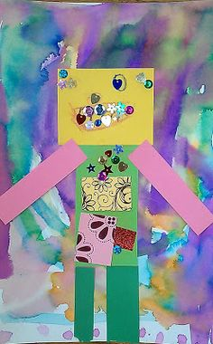The David Lubin Art Studio-Rainbow Robots, 3 part project lots of color and fun Intro To Art, Cut Out Shapes, Pencil Eraser, Build A Snowman, Kindergarten Art, Painted Paper, Summer Art, Art Studios, Art Boards