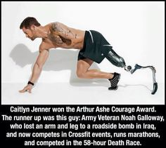 Wake up America!!!! When a man changes himself to be a woman. Something God obviously did not tend for him to be. Gets an award but not this man who was fighting in Iraq. And lost 2 limbs and still competes and not sits down. Something is dead wrong with this picture. Terribly wrong