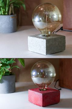 Decor table lights. These home table lights are really unique. Made of concrete mixed with color gives your space a unique modern touch. #tablelight #tablelamp #decor #decorlamp #decorlight #homedecor #betonlight #beton #betondecor #concretedecor