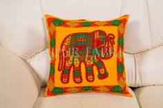 Beautiful 5 cushion cover set in pleasing yellow colors, with bright Embroidery and Cut Work.